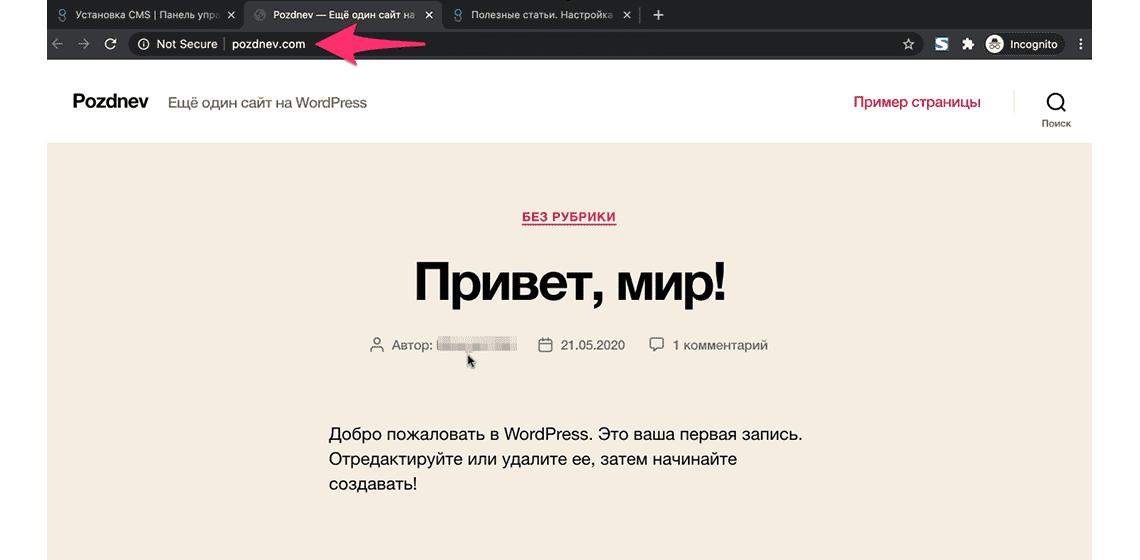 главная страница сайта после установки wordpress