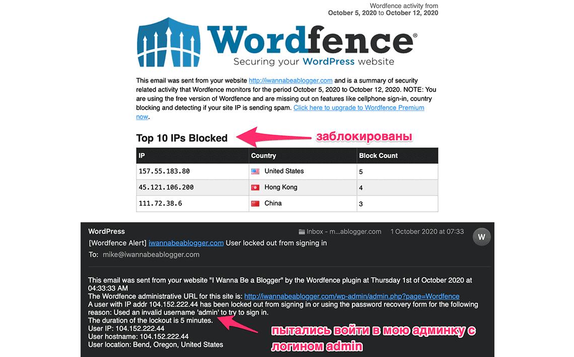примеры писем от wordfence с блокировкой