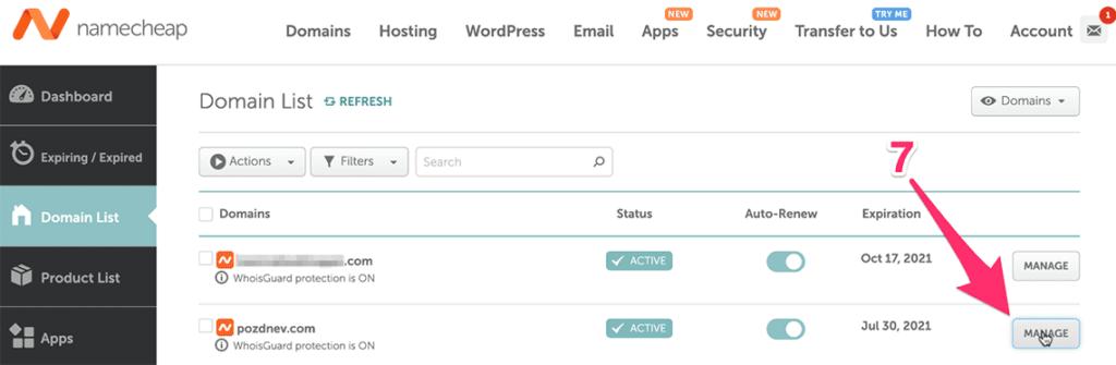 управление доменами namecheap
